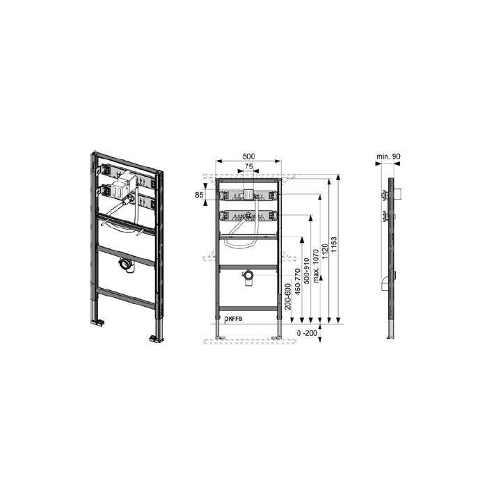 Фото сантехники Модуль для установки писуара (h1120) - 2