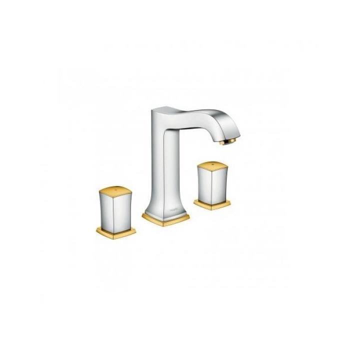 Фото сантехники Metropol Classic Смеситель для раковины на 3 отв., ручки Zero, со сливным гарнитуром, хром/золото - 2