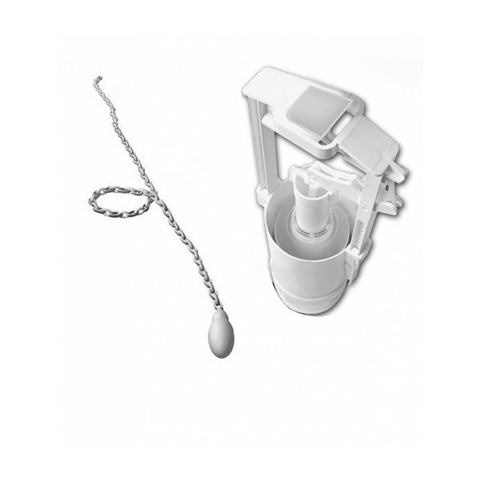 Фото сантехники Механизм слива для высокого бачка с керамической белой ручкой и подводкой, без трубы, цвет хром