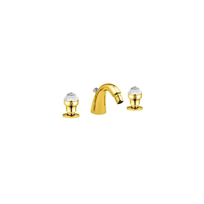 Фото сантехники Axo Swarovski Смеситель для биде на 3 отверстия, цвет золото