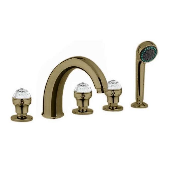 Фото сантехники Axo Swarovski Смеситель для ванны встроенный в борт на 5 отверстий, цвет бронза, ручки Swarovski