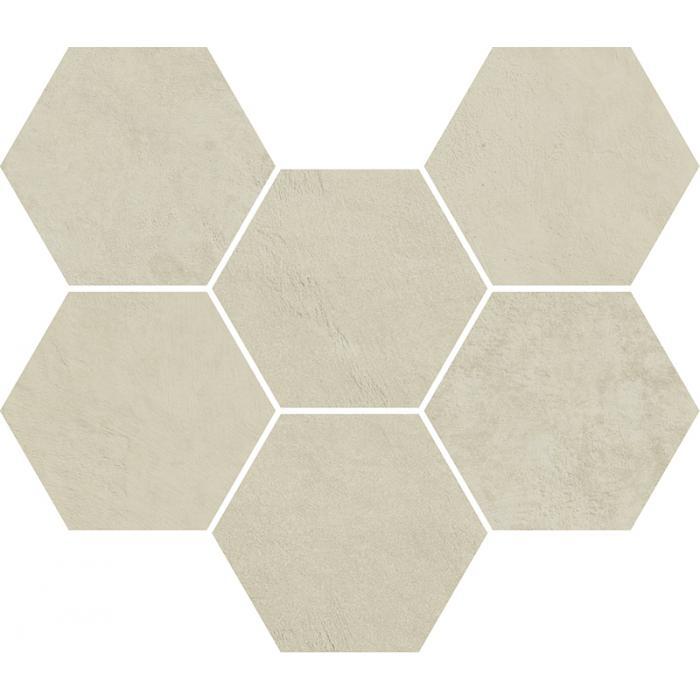 Текстура плитки Терравива Мун Мозаика Гексагон 25x29