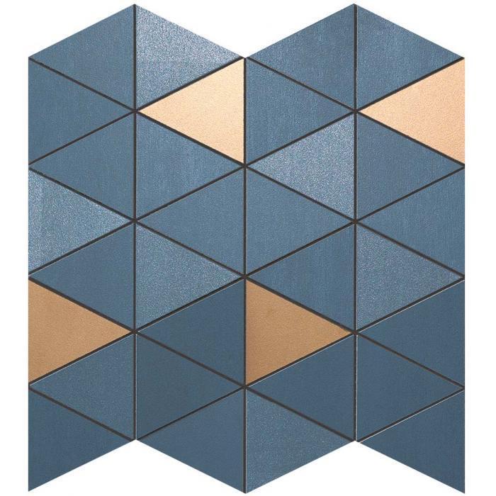 Текстура плитки Mek Blue Mosaico Diamond Gold Wall 30,5x30,5