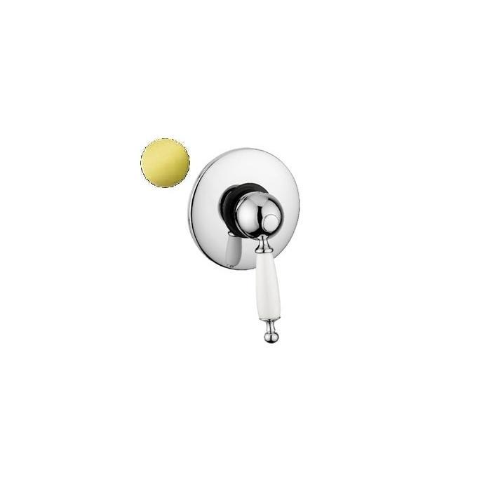 Фото сантехники Oxford Смесительдля душа встроен. монокомандный (ручка белая),хром/золото (BN.OXF-6330.BI.CRDO)