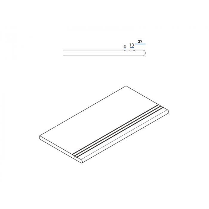 Текстура плитки Пур Ступень Закругленная Грип 30x60