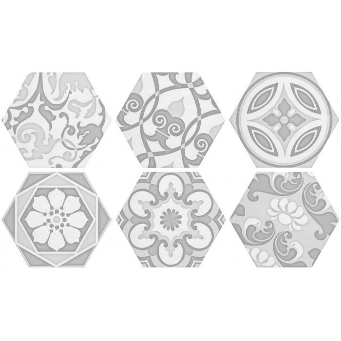Текстура плитки Decor Vodevil White 17.5x17.5
