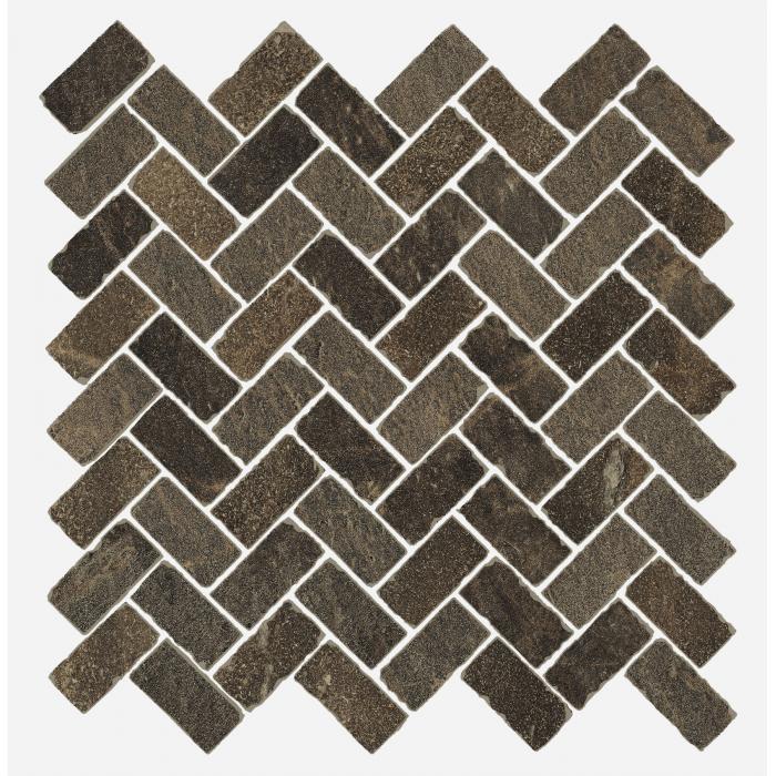 Текстура плитки Дженезис Меркури Браун Мозаика Кросс Нат. 29,7x31,5 (0,078м2/шт)