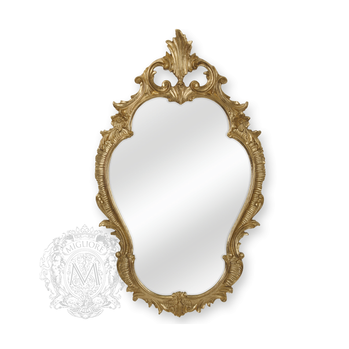 Фото сантехники Зеркало фигурное h98xL58xP4см,цвет золото