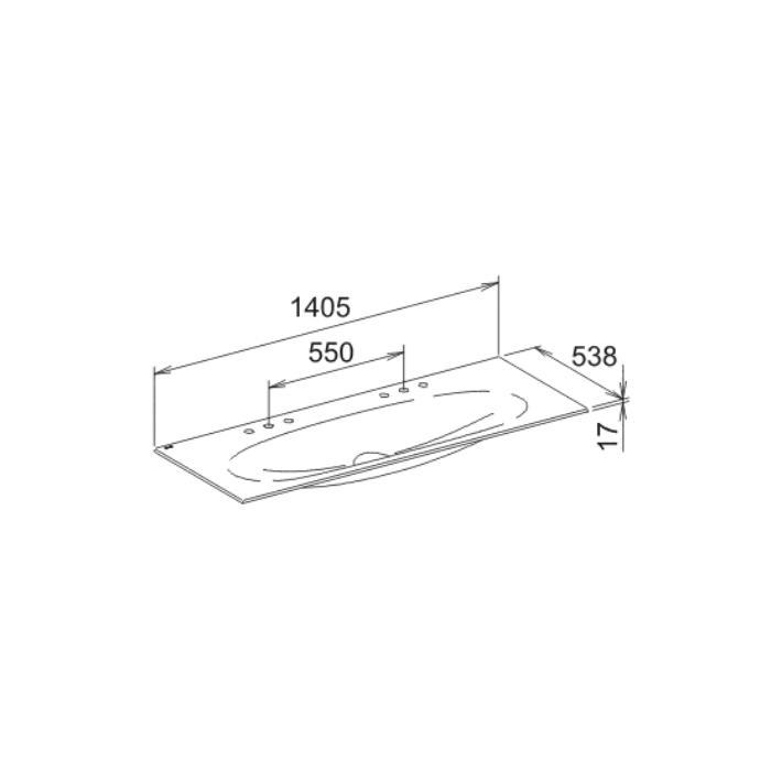 Фото сантехники Edition 11 Раковина керамическая двойная 1405х17х538мм для смесителя на два отверстия - 2