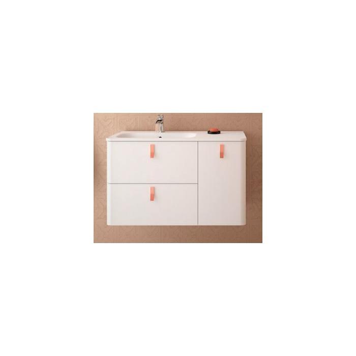 Фото сантехники Uniiq Тумба под раковину 90 см(897x540x450 мм), без раковины,ручек,ножек, правая, цвет матовый белый