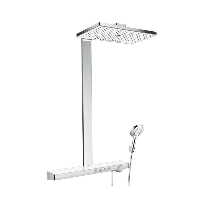 Фото сантехники Rainmaker Select 460 3jet Showerpipe Душевая стойка  с каскадом и ручным душем, стекло белое