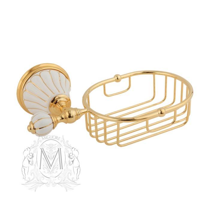 Фото сантехники Olivia Решетка-корзина настенная (с декором), золото
