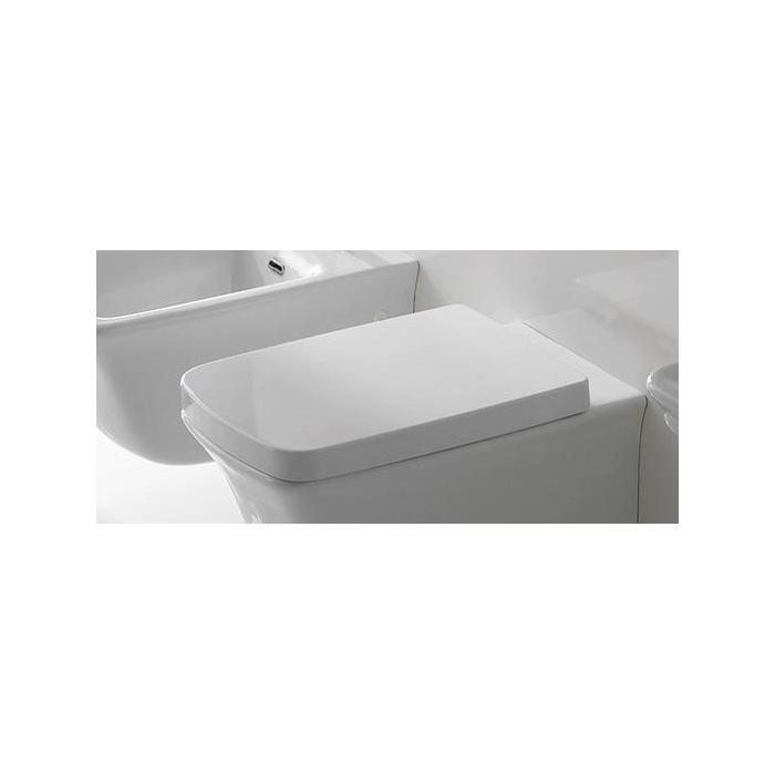 Фото сантехники Сиденье-крышка с микролифтом для унитаза, цвет белый/петли хром - 2