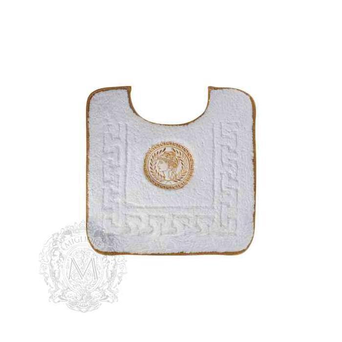 Фото сантехники Коврик для ванной WC комнаты 60х60 см, цвет белый, золотой декор