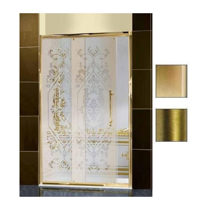 Фото сантехники Serie 500 Дверь в нишу 200 см(198-200х195), стекло Art Deco матовое с прозрачным декором,цвет бронза