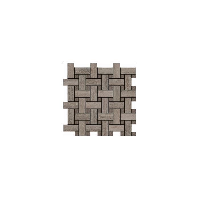 Текстура плитки Травертино Сильвер Мозаика Лаунж 30.5x30.5