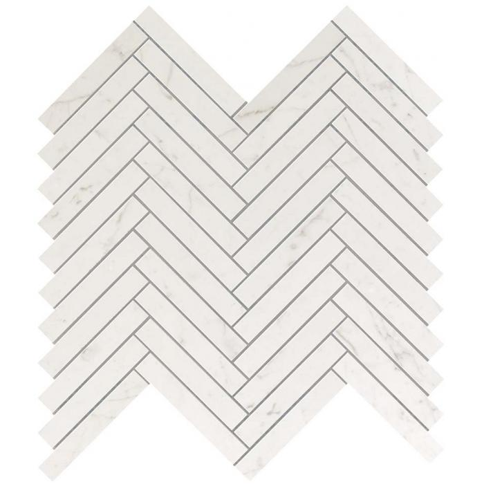 Текстура плитки Marvel Stone Carrara Pure Herringbone Wall (1,7х10,6) 30x30,5