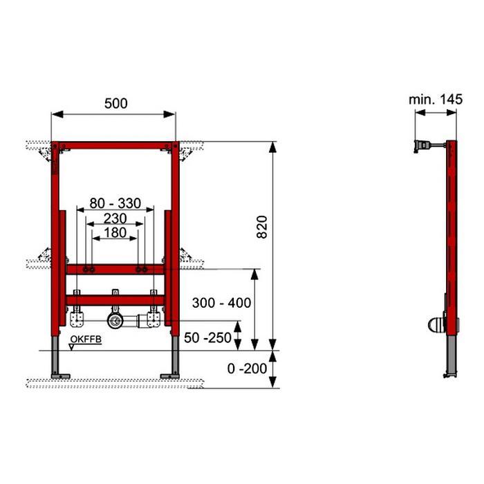 Фото сантехники Модуль для установки биде h=1120 мм - 2