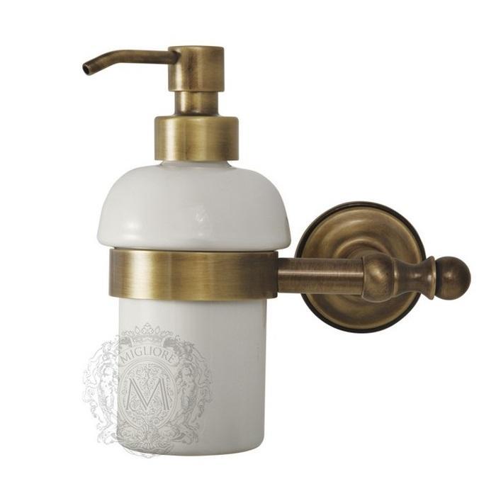 Фото сантехники Mirella Дозатор жидкого мыла настенный, керамика/бронза