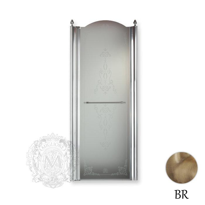 Фото сантехники Diadema Душевая дверь с декор 90см SX, стек матов с декором, профиль бронза ML.DDM-22.592.SX.BR