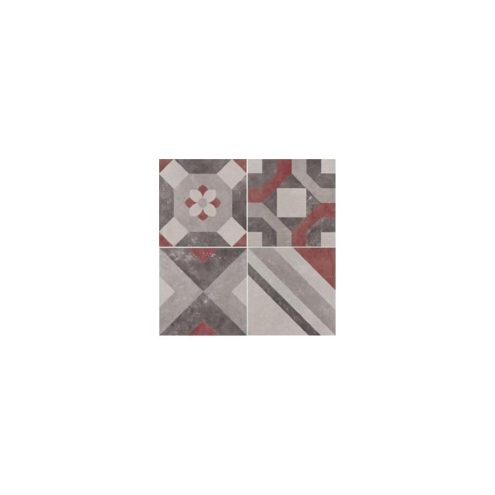 Текстура плитки Docks Dec.Combi 4 Grigio/Rosso Rett 30x30