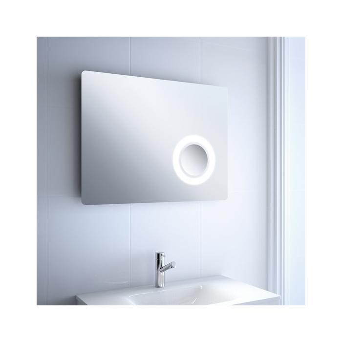 Фото сантехники Зеркало Moscow 800 х 600 мм, с увеличительным зеркалом(х2), подсветкой (LED)
