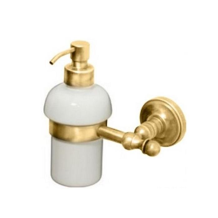 Фото сантехники Mirella Дозатор жидкого мыла настенный, керамика/золото