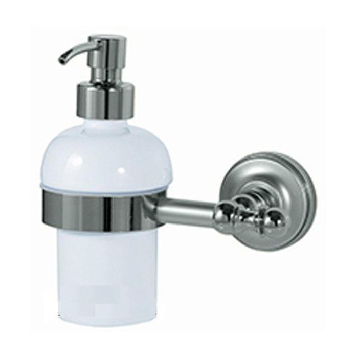 Фото сантехники Mirella Дозатор жидкого мыла настенный, керамика/хром - 2