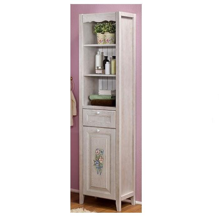 Фото сантехники Виолетта Пенал 34,2х48х197,5 см открытый с ящиком и корзиной для белья, цвет молочный