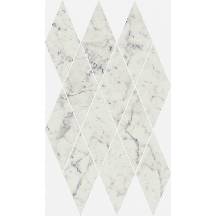 Текстура плитки Шарм Экстра Каррара Мозаика Даймонд Люкс 28x48 (0,085м2/шт)