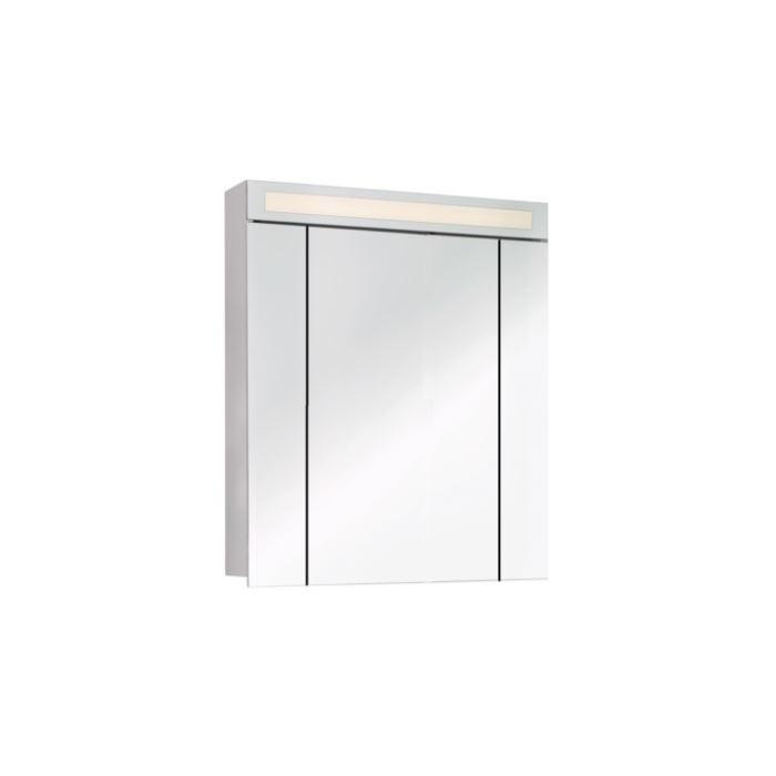 Фото сантехники Uni Шкаф зеркальный Uni80, 3 двери, (20/40/20) подсветка с выключателем